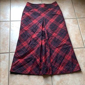 Talbots Black & Red Plaid Wool Midi-Maxi Skirt 8